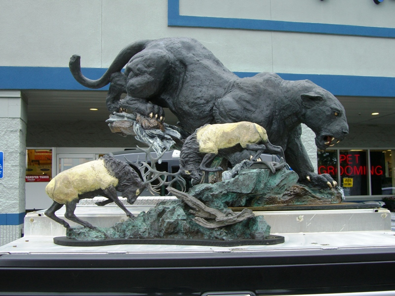 The prominent bronze sculptor Lorenzo Giglieri drives around Aurora, Oregon with his art in his pickup bed.