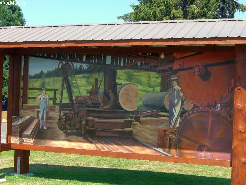 A sawmill mural in Molalla, Oregon.