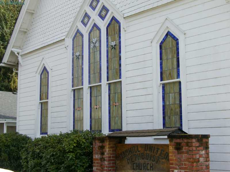 The stained glass windows of the United Methodist Church in Yamhill, Oregon.