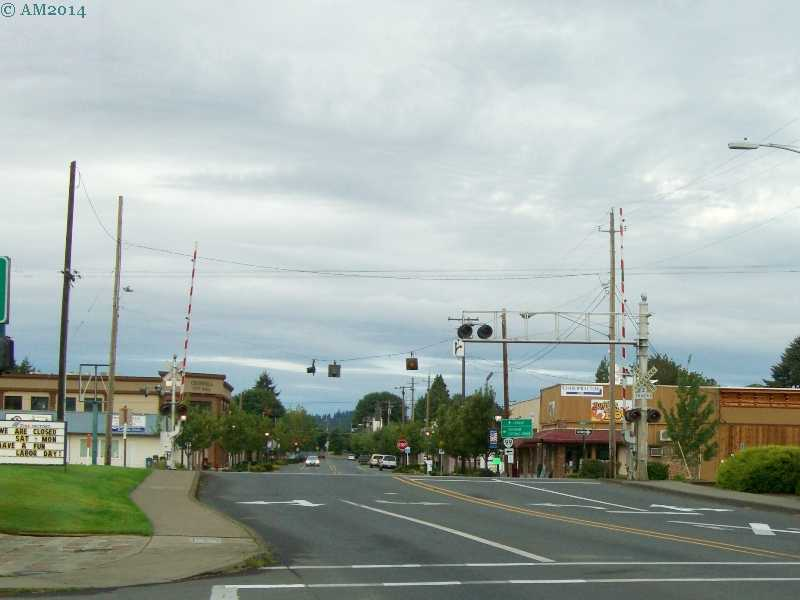 Looking west at Main Street, Cresswell, Oregon.
