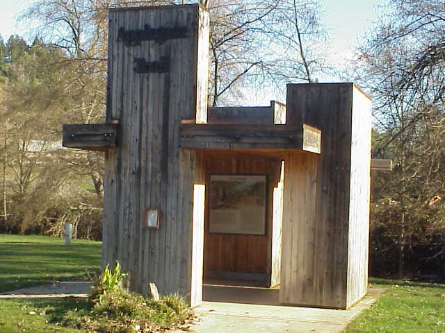 This kiosk has the story of the Applegate trail in Canyonville, Oregon.