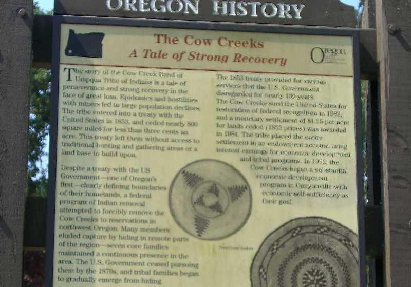History monument of Cow Creek Indians, Canyonville, Oregon.