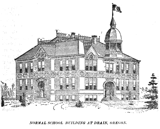 A sketch of the old Normal School in Drain, Oregon.