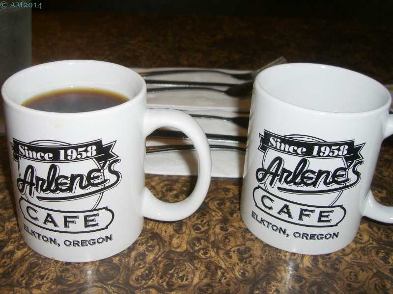 Coffee cups at Arlene's Cafe in downtown Elkton, Oregon.