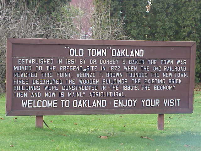 This history marker tells the story of fire in downtown Oakland, Oregon.