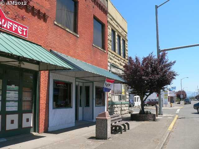 A close-up view of Main Street in Sutherlin, Oregon.
