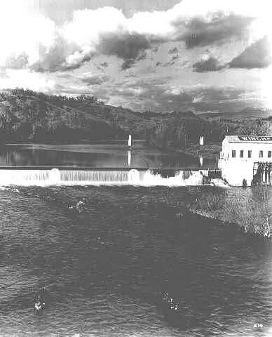 Historical photo from 1936 of the Winchester Dam, Winchester, Oregon.